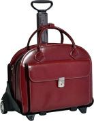 "McKlein 94366 15.4"" Glen Ellyn Red Italian Leather Detachable-Wheeled Ladies' Notebook Briefcase"
