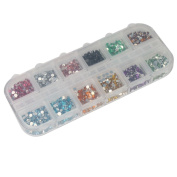 3000 Piece 2mm 12 Colour Nail Art Nailart Manicure Round Glitter Rhinestones Tips Decoration