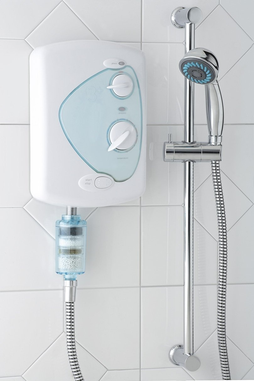 clear tinted dechlorinating shower filter removes 99 9 chlorine and softens your shower water. Black Bedroom Furniture Sets. Home Design Ideas