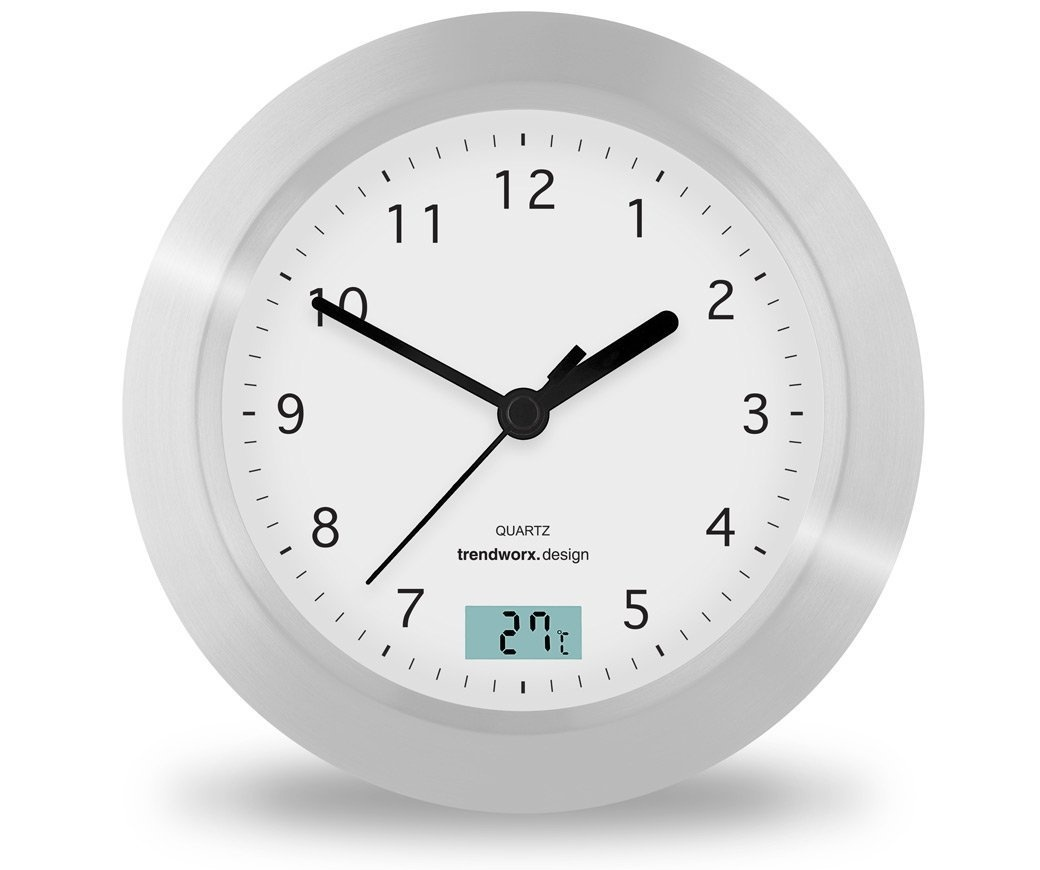 Trendworx 4044 Suction Cup Bathroom Clock with Digital Thermometer. Free Shippin