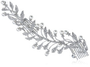 Genuine Czech Crystal Rhinestone Faux Pearl Accented Leaf Branch Head Hair Comb