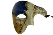 Gold Lining Musical Blue Venetian Half Masquerade Mask Phantom Vintage Design