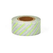 Japanese Washi Masking Tape - Maste Mini Diagonal Stripe Light Green Single Roll