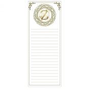 Grasslands Road Cucina Monogram Metallic Gold Letter Initial Z Magnetic Memo Pad