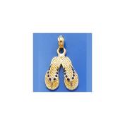 Gold Charm Blue Dotted Enamel Double Flip Flop