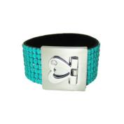 Glittering Bracelet Silver Heart Clasp Aqua Blue Beads