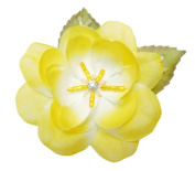 Cuteque International 6-Piece Pack Rhinestone Embellished Colourful Garden Roses with Leaves, Yellow