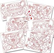 Elegant Kitchen Teacups Redwork Machine Embroidery Designs on CD