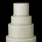 Silver Ivory Rhinestone & Pearl Satin Ribbon Wedding Cake Decorators