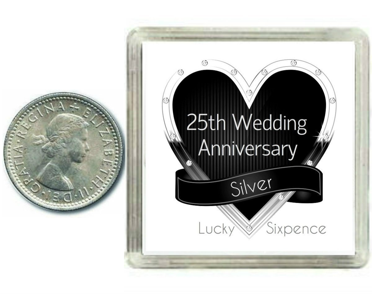 What Gift For 25th Wedding Anniversary: Lucky Silver Sixpence Coin Silver 25th Wedding Anniversary