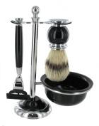 Mach 3 Shaving Set with Bristle Brush & Bowl in elegant black finish
