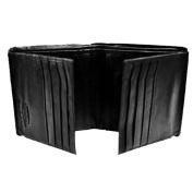 Luxury Divas Bi-Fold Black Leather 16 Credit Card Men's Wallet