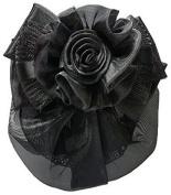 Women Black Flower Bow Hair French Clip Snood Net Bun Cover Barrette B002