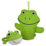 Rich Frog Wacky Wash Mitt and Bath Sponge Combo - Frog
