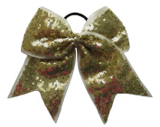 """New """"FANCY SEQUIN Gold"""" Cheer Bow Pony Tail 7.6cm Ribbon Girls Hair Bows Cheerleading Dance Practise Football Games Competition Birthday"""