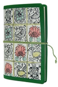M & N Handcrafted, Hand Painted, Handmade Paper Journal, Travel Journal, Notebook In Madhubani Pattern Green