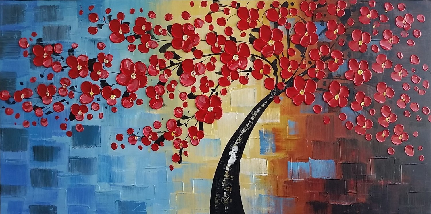 Wieco-Art-Dazzling-Beauty-Modern-100-Hand-painted-Flower-Oil-Painting-Canvas