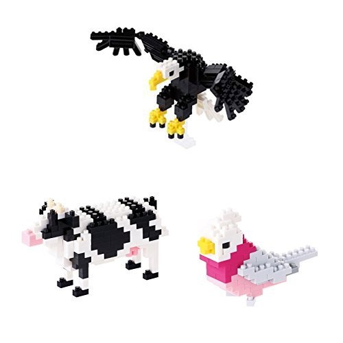 Three Different Nanoblock Animal Sets - Bald Eagle, Cow and Galah. Huge Saving