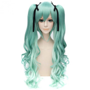 Snow Miku Gradient Green Women Double Ponytail Anime Cosplay Long Wavy Curly Wig