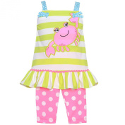 Rare Editions Baby Girls Lime Striped Crab Applique 2 Pc Outfit Set 6-9M