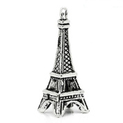 Bottle Caps,Beads and More (TM) 20 Pc Eiffel Tower charm pendant Antique Silver 27x10mm