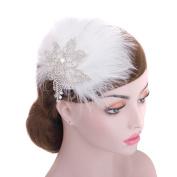 Wedding Feathers Rhinestone Bridal Headpiece Hair Clip, Glamorous Wedding Tiara Hair pin, Bridal Hair Clip