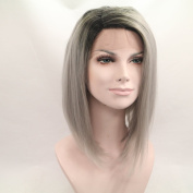 Heat Resistant Fibre Hair ombre black to grey bob colour dark root Synthetic lace front wig for women.