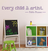 Every Child Is An Artist Wall Decal 130cm W by 30cm H, Wall decal, Children Wall Decal, Kids Artwork Decal, Kids Artwork Display, Artwork Display, Playroom, HN91 PLUS FREE 30cm WHITE HELLO DOOR DECAL