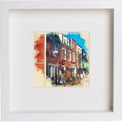 Glasgow Ashton Lane Framed Art Picture Photo Print - 25cm x 25cm - White