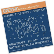 Groovi Embossing Plate Laser Etched Acrylic for Parchment Craft ~ Best Wishes Ribbon A5 Sq