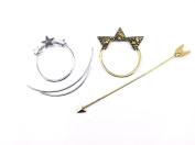 yueton 2pcs Antique Bronze Long Arrow and Silver Star Pierced Barrette Hair Fork Stick Hair Pin
