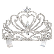 DcZeRong Gift Box Packed Royalty Wedding Pageant Queen Heart Rhinestone Tiara Silver