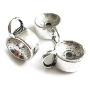 Heather's 25 Pieces Silver Tone Drum Bail Closed Loop Spacer Connector Findings Jewellery Making 16X12X6mm