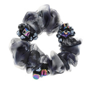 Elegant Silk Yarn Scrunchie Elastics Ponytail Holder Hair Rope/Ties Black