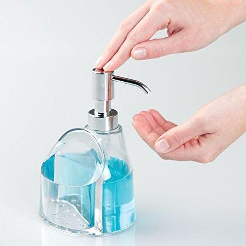Mdesign Kitchen Soap Dispenser Sponge And Scrubby Caddy Organiser Clear Chrome Ebay