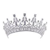 ThyWay Retro Royal Silver Wedding Crown Clear CZ Crystal Pageant Party Tiara Headpiece Headdress