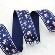 """FunnyPicker (5 Yards/Lot) 1"""" (25Mm) Deep Blue Grosgrain Ribbon Printed Lovely Floral Series Ribbons"""