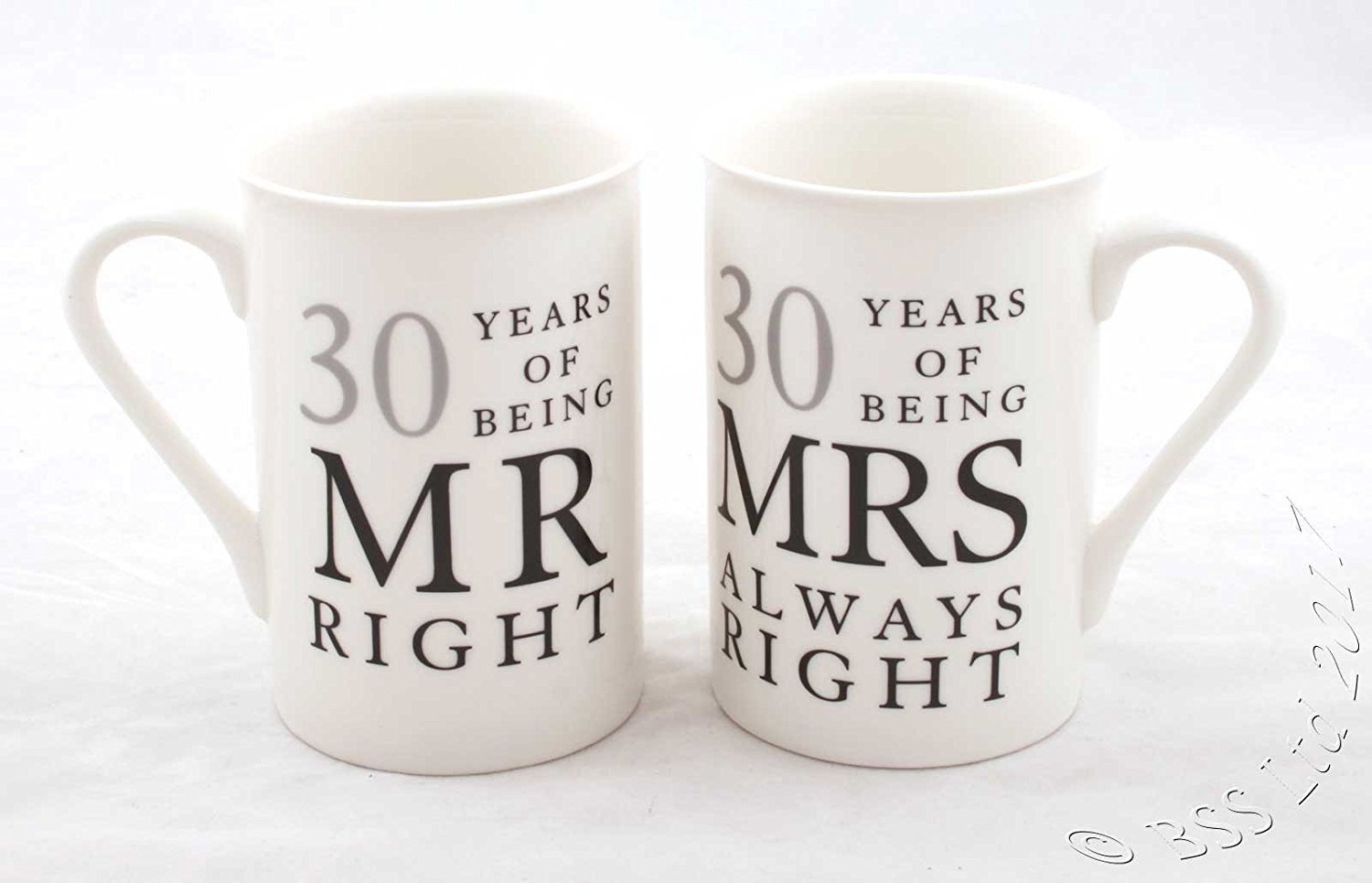 30th Wedding Anniversary Gift For Couple: 30th Anniversary Gift Set Of 2 China Mugs Mr Right & Mrs