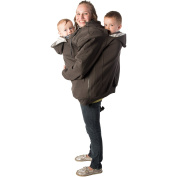 RooCoat Tandem Babywearing Coat Charcoal with Grey Stripes Small