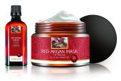 Red Argan Moroccan Oil Mask & Serum Set Hair Treatment SLS, Alcohol & Paraben Free Cream Pure Repair Damaged For Thick Hair