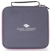 Plant Therapy Large Hard-Top Essential Oil Carrying Case. Holds up to 30 Bottles (5 ml, 10 ml, 15 ml) Stain and Water Resistant,, Durable, Travel Ready. Grey with Pink Zipper.