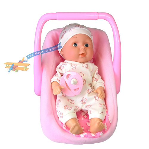 20cm Baby Doll with Carry Cot Chair Pink Carrier & Dummy ...